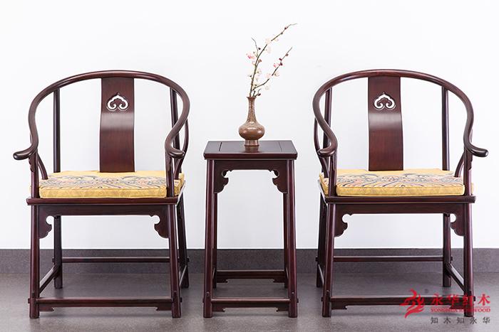 永华红木 大红酸枝 明式(明榫)独板圈椅
