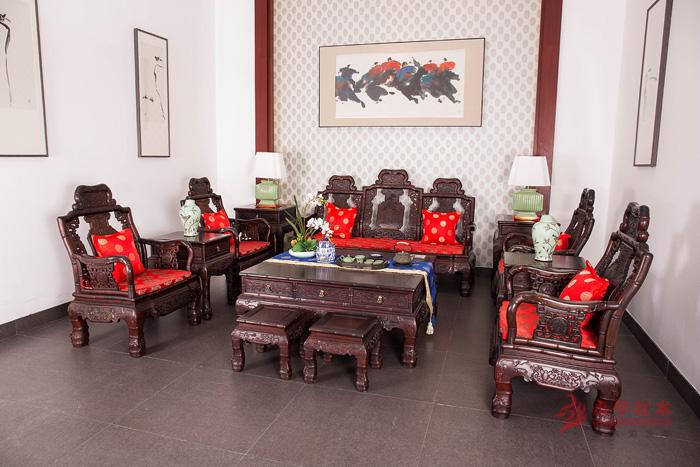 永华红木 大红酸枝 竹节沙发