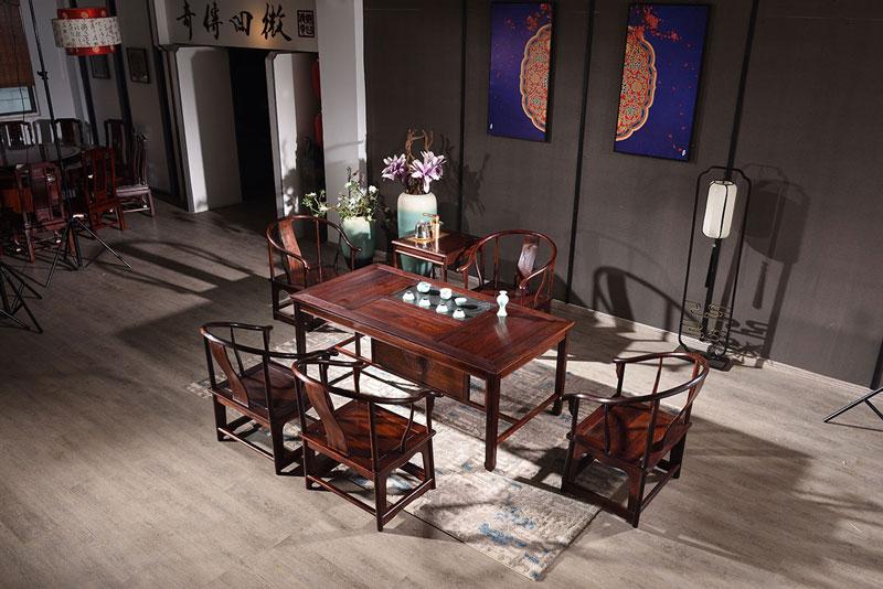 微凹传奇 微凹黄檀红木家具 1.73米明式茶台