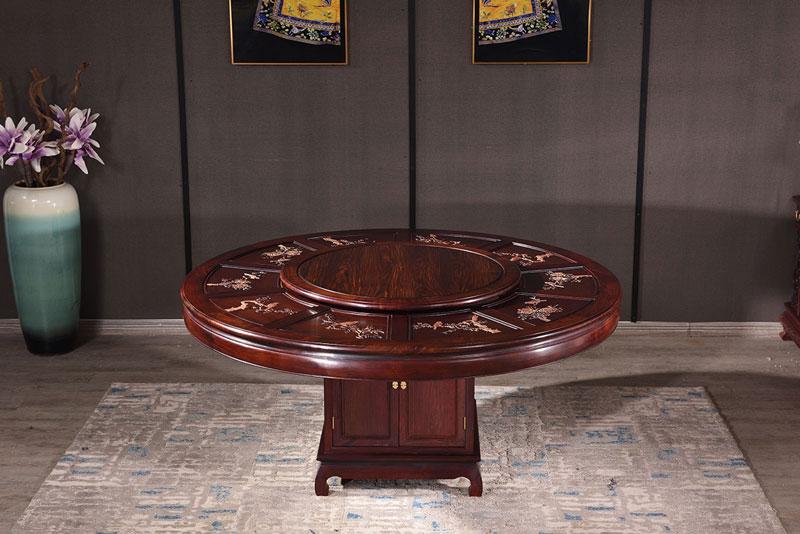 微凹传奇 微凹黄檀红木家具 1.78米圆桌雕花