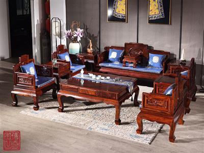 微凹传奇 微凹黄檀红木家具 荷塘清趣沙发