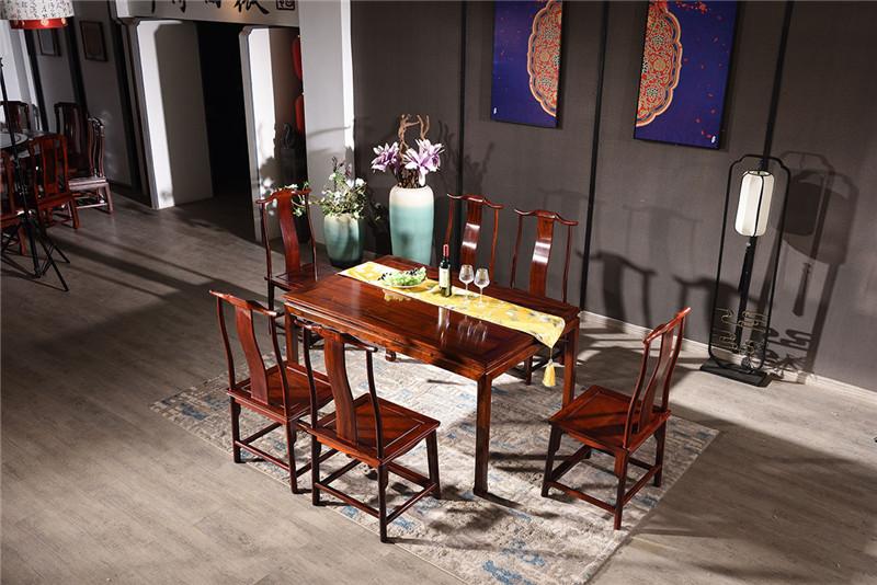 微凹传奇 微凹黄檀红木家具 明式霸王枨西餐桌