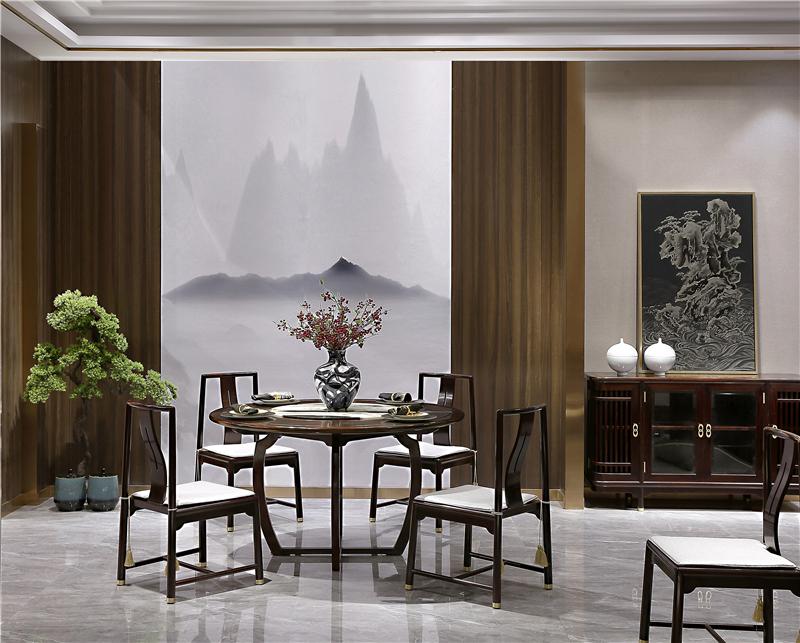 老周家居 上海老周红木 印尼黑酸枝(阔叶黄檀)餐桌 现代中式圆桌 餐厅系列