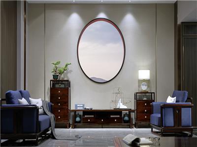 老周家居 上海老周红木 印尼黑酸枝(阔叶黄檀)电视柜 现代中式视听柜