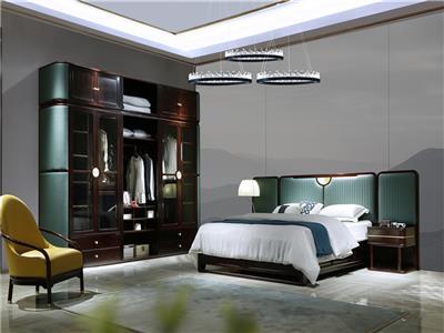 老周家居 上海老周紅木 印尼黑酸枝(闊葉黃檀)大床 現代中式紅木床 套房系列