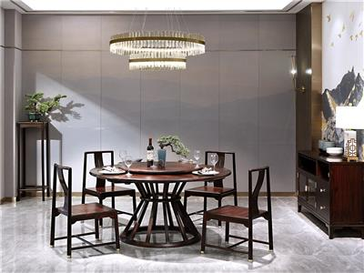 老周家居 上海老周红木 印尼黑酸枝(阔叶黄檀)圆桌 现代中式餐桌 餐厅系列