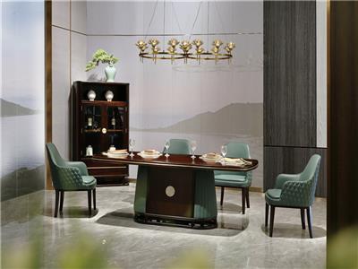 老周家居 上海老周红木 印尼黑酸枝(阔叶黄檀)餐桌 现代中式餐厅系列