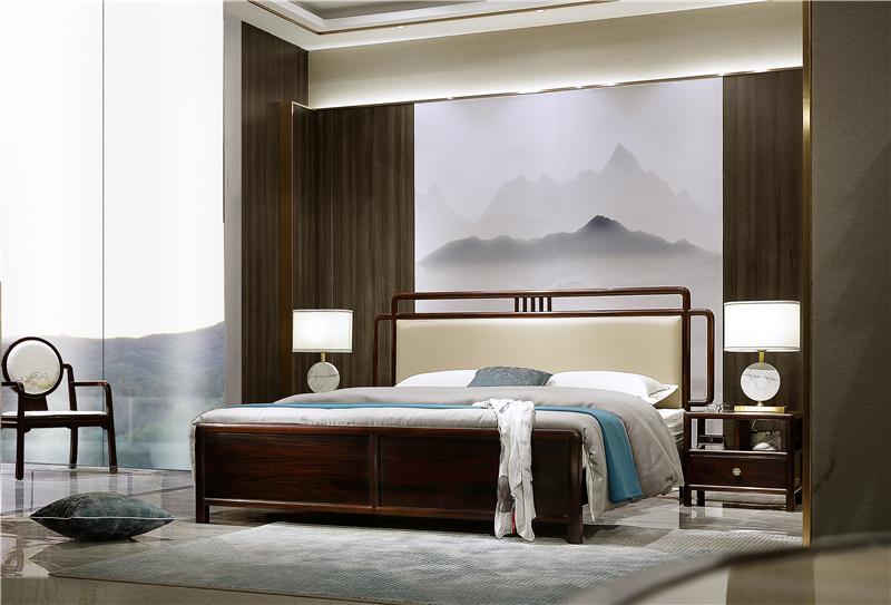 老周家居 上海老周红木 印尼黑酸枝(阔叶黄檀)大床 现代中式红木床 套房系列