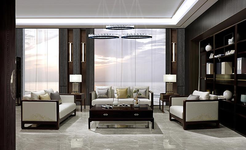 老周家居 上海老周红木 印尼黑酸枝(阔叶黄檀)沙发 禅悦系列现代中式沙发