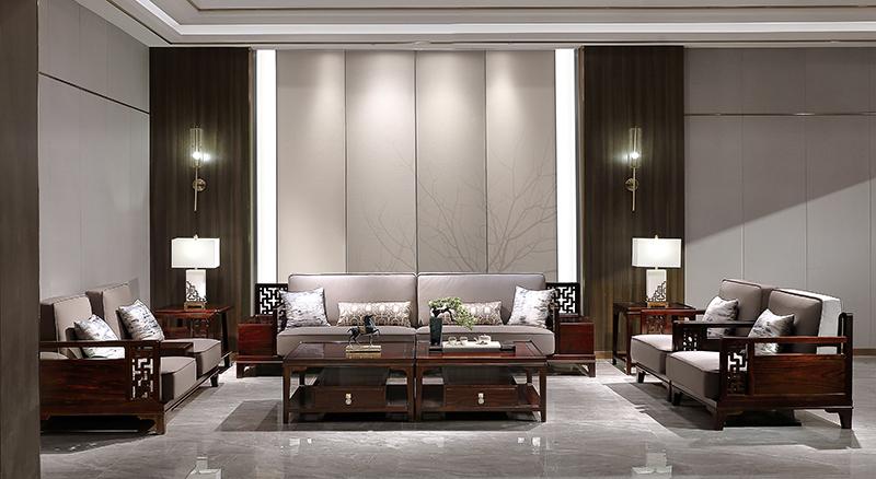 老周家居 上海老周红木 印尼黑酸枝(阔叶黄檀)沙发 灵韵系列现代中式客厅
