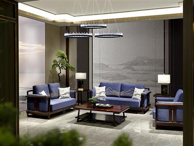 老周家居 上海老周红木 印尼黑酸枝(阔叶黄檀)客厅 悟本系列现代中式沙发