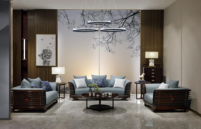老周家居 上海老周红木 印尼黑酸枝(阔叶黄檀)客厅 祥荷系列现代中式沙发