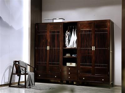 老周家居 上海老周红木 印尼黑酸枝(阔叶黄檀)红木顶箱柜  现代中式衣柜