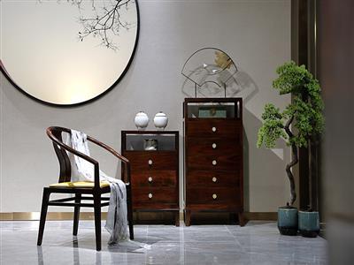 老周家居 上海老周红木 印尼黑酸枝(阔叶黄檀)红木五斗柜 现代中式储物柜