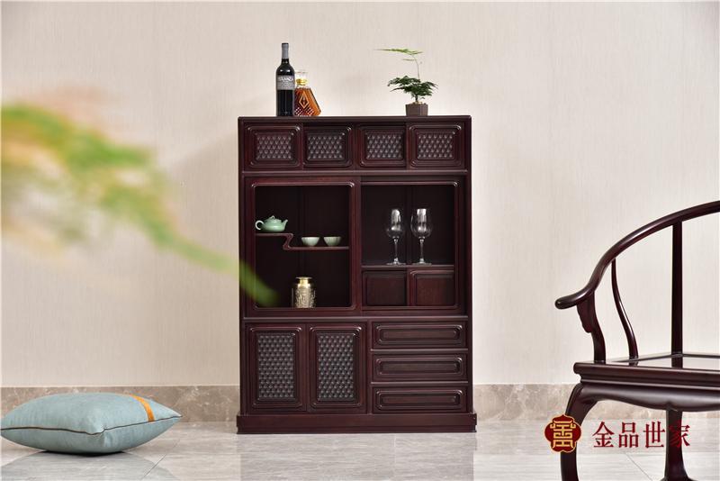 金品世家红木 染料紫檀收纳柜 血檀多用柜 明清古典多用柜