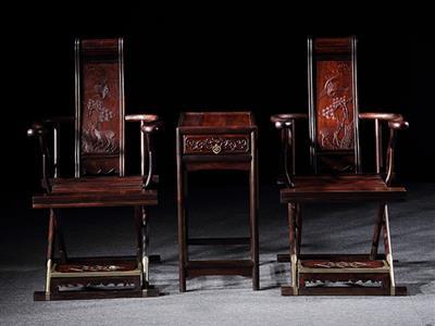 旭东红木家具 交趾黄檀 大红酸枝卷书交椅3件