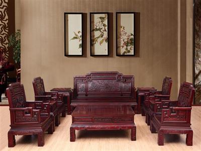 御华轩 国色天香沙发 南美酸枝红木沙发10件套