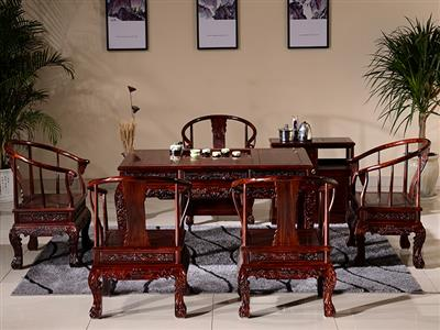 缘人缘红木茶台 印尼黑酸枝木 新中式茶桌椅组合 禅意茶几功夫茶桌喝茶桌