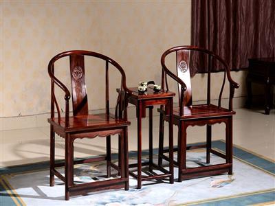 红木家具圈椅印尼黑酸枝木皇宫椅三件套明清古典太师椅宫廷椅