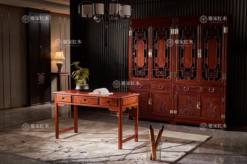 雅宋红木1.26米 明月写字台 缅甸花梨写字台 红木书桌