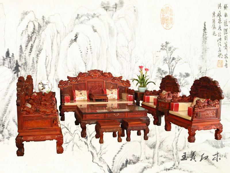 王义精品盛世(狮)中华万事(狮)如意大宝座沙发十三件套