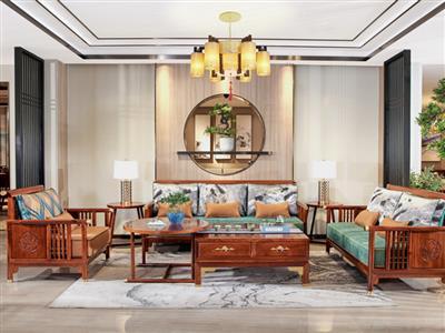 印巷森刻 黑檀 刺猬紫檀 朝荷客厅沙发 客厅系列 新中式家具