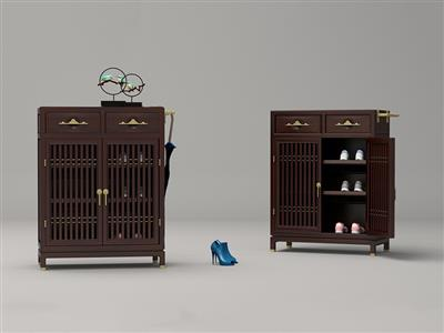 印巷森刻 黑檀 刺猬紫檀 喜上梅梢鞋柜 客厅系列 新中式家具 红木家具