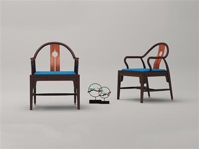 印巷森刻 黑檀 刺猬紫檀 喜上梅梢圆台椅 客厅系列 休闲系列 新中式家具 红木家具