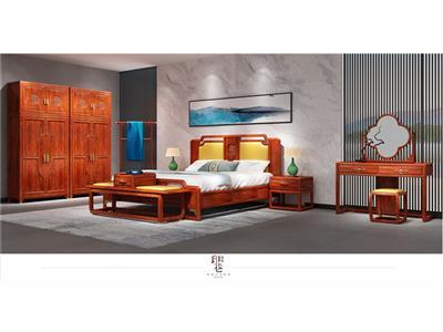 印巷森刻 黑檀 刺猬紫檀 赏梅卧房大床 卧室系列 新中式家具