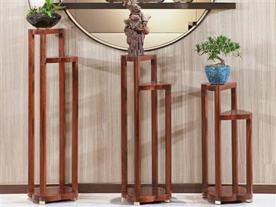 印巷森刻 黑檀 刺猬紫檀 花几 客厅系列 新中式家具 红木家具