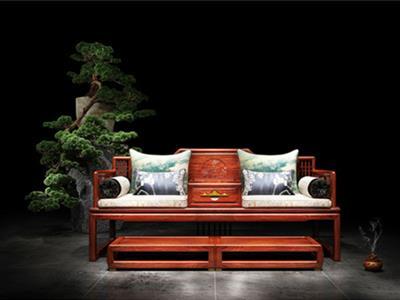 印巷森刻 刺猬紫檀 赏梅罗汉床 客厅系列 新中式家具 床榻
