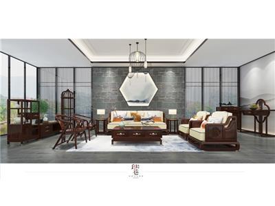 印巷森刻 黑檀 刺猬紫檀 赏梅客厅沙发 客厅系列 新中式家具