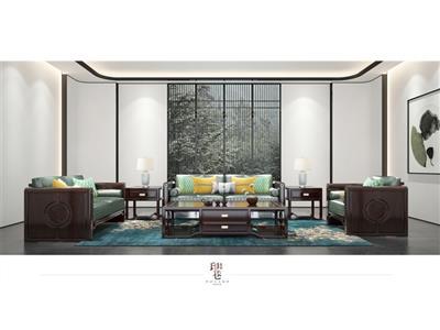 印巷森刻 黑檀 刺猬紫檀 观澜沙发 客厅系列 新中式家具