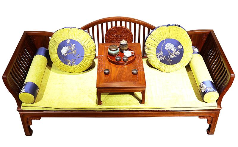金枝典刺猬紫檀新中式罗汉床