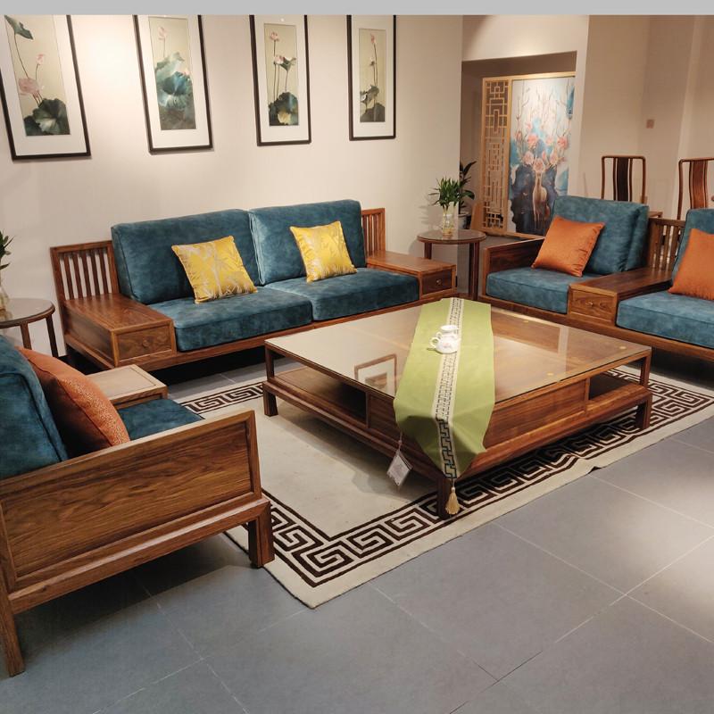 時尚輕奢款新中式沙發1號簡約刺猬紫檀紅木家具