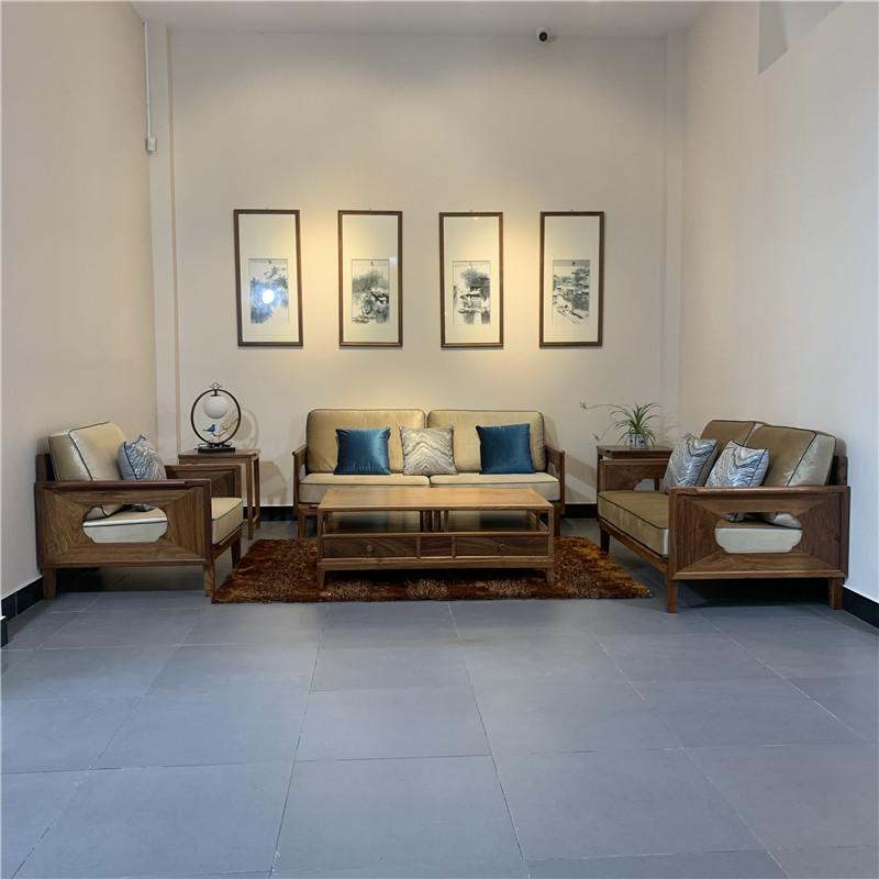 時尚輕奢款新中式沙發2號簡約刺猬紫檀紅木家具