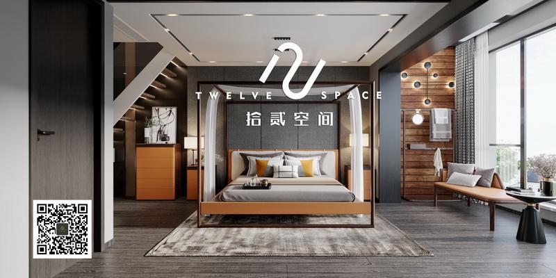 拾贰空间阔叶黄檀色彩新中式卧房空间3