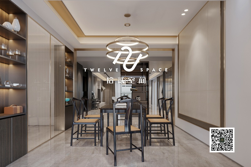 拾贰空间阔叶黄檀色彩新中式餐厅空间