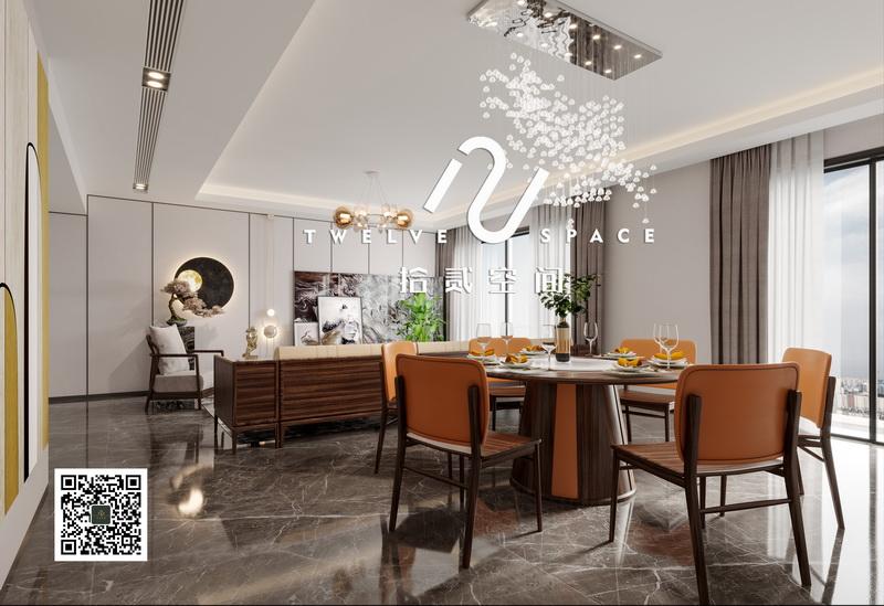 拾贰空间阔叶黄檀色彩新中式餐厅空间2