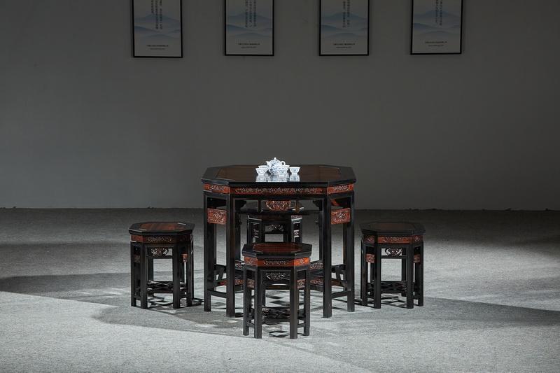 万事红 国标红木 中式古典 微凹黄檀 红酸枝 八角桌