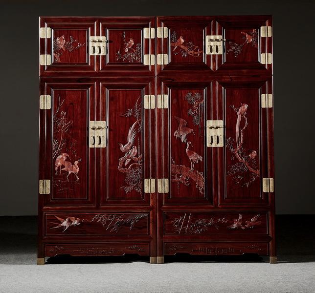 万事红 国标红木 中式古典 微凹黄檀 红酸枝 顶箱柜