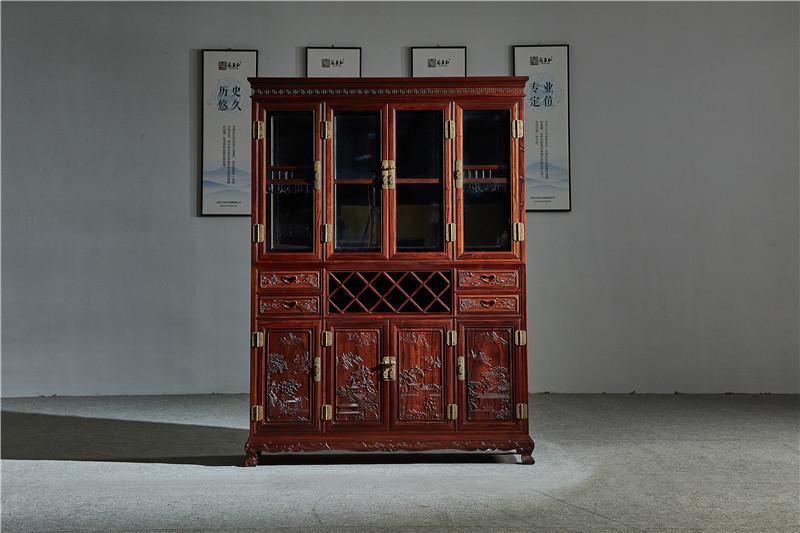 万事红 国标红木 中式古典 微凹黄檀 红酸枝 酒柜