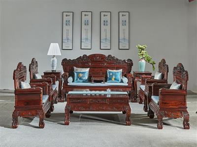 万事红 国标红木 中式古典 微凹黄檀 红酸枝 红木沙发
