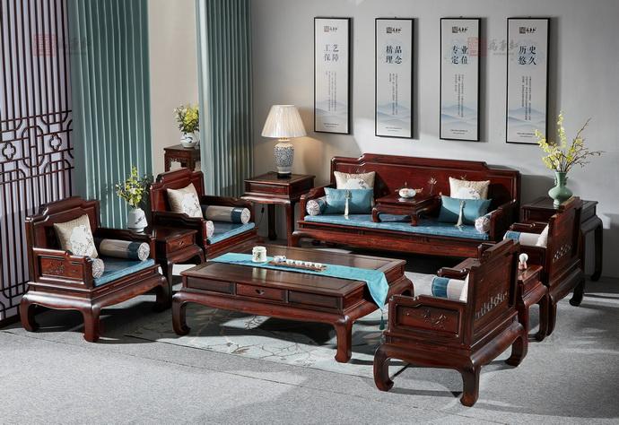 万事红 国标红木 中式古典 微凹黄檀 红酸枝 合韵沙发