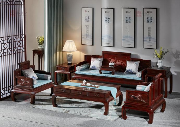万事红 国标红木 中式古典 微凹黄檀 红酸枝 松鹤延年沙发