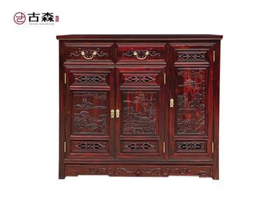古森红木 阔叶黄檀书架 新古典家具 中式家具 红木家具 客厅系列 其他系列 鞋柜