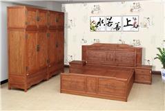 缅甸花梨  大床+顶箱柜