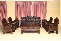 黑紫檀  纹龙元宝沙发  10件套