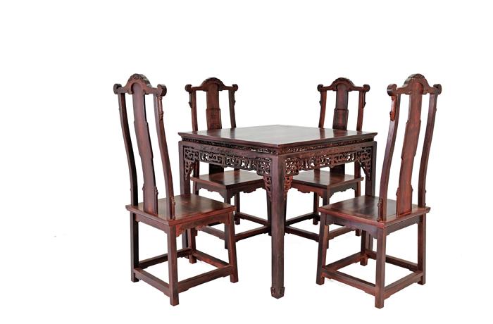 小叶檀餐桌配灯挂椅(福建三福)