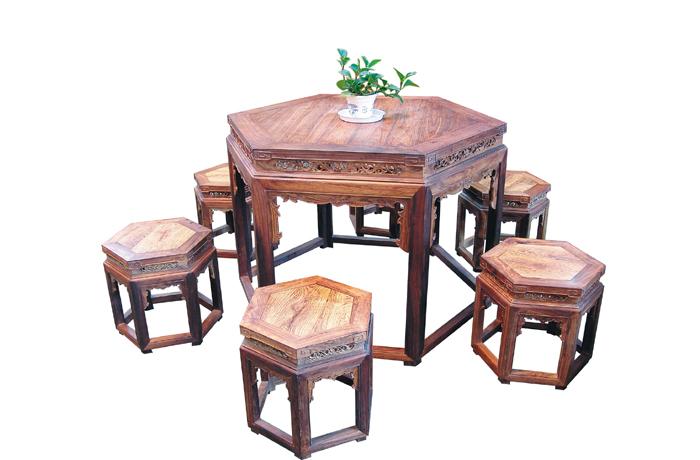 越南花梨六角桌(福建三福)